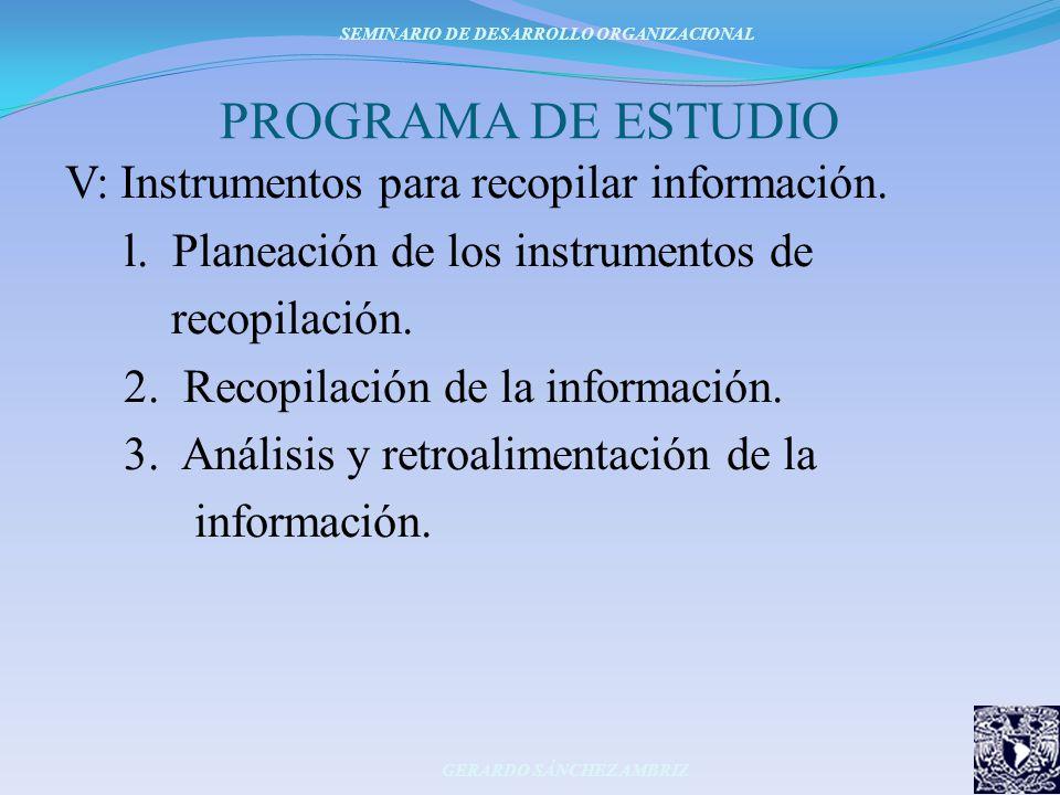 PROGRAMA DE ESTUDIO V: Instrumentos para recopilar información. l. Planeación de los instrumentos de recopilación. 2. Recopilación de la información.