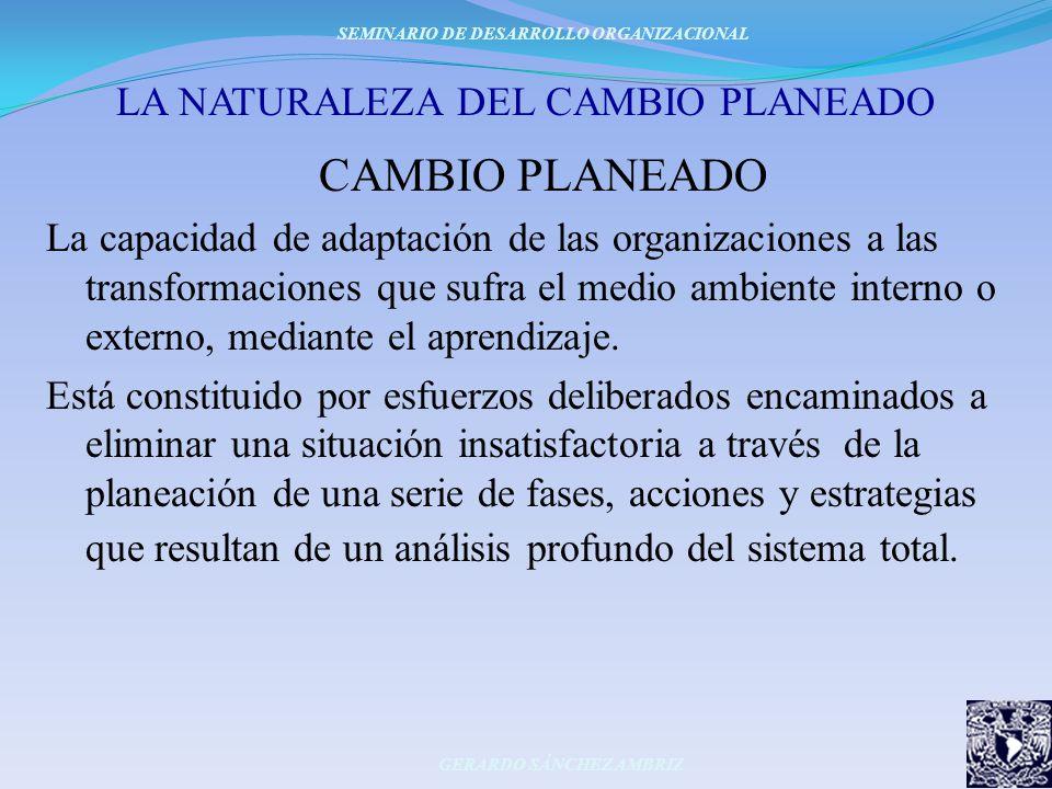 LA NATURALEZA DEL CAMBIO PLANEADO CAMBIO PLANEADO La capacidad de adaptación de las organizaciones a las transformaciones que sufra el medio ambiente