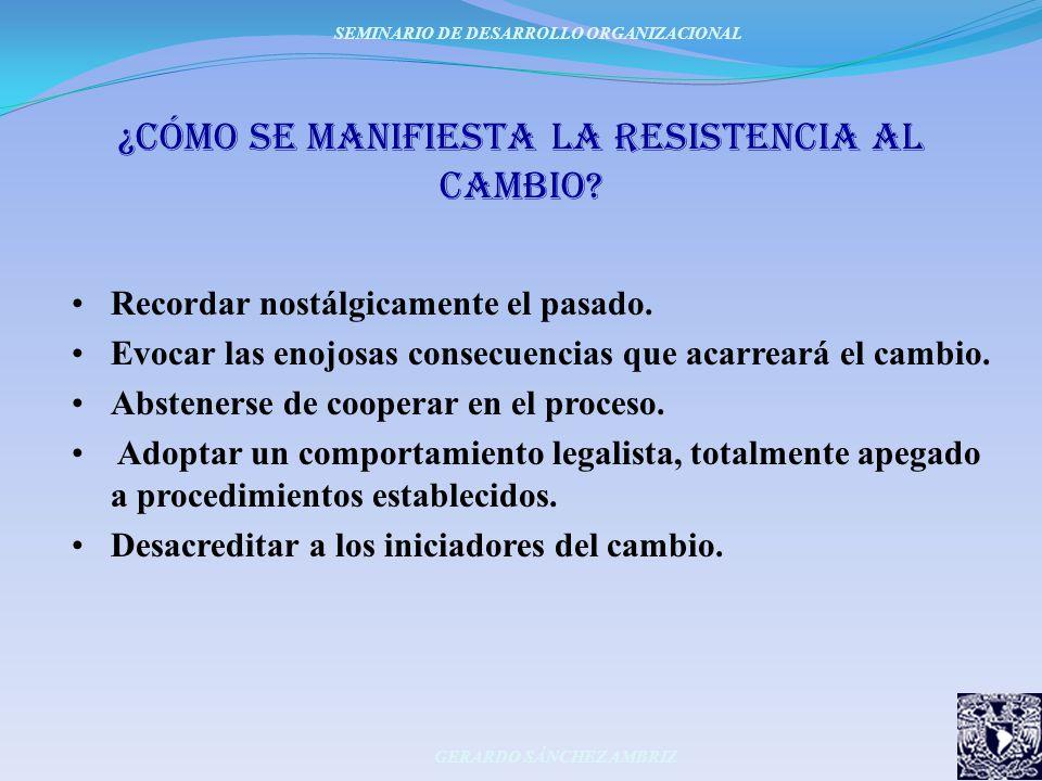 ¿Cómo se manifiesta la resistencia al cambio? Recordar nostálgicamente el pasado. Evocar las enojosas consecuencias que acarreará el cambio. Absteners