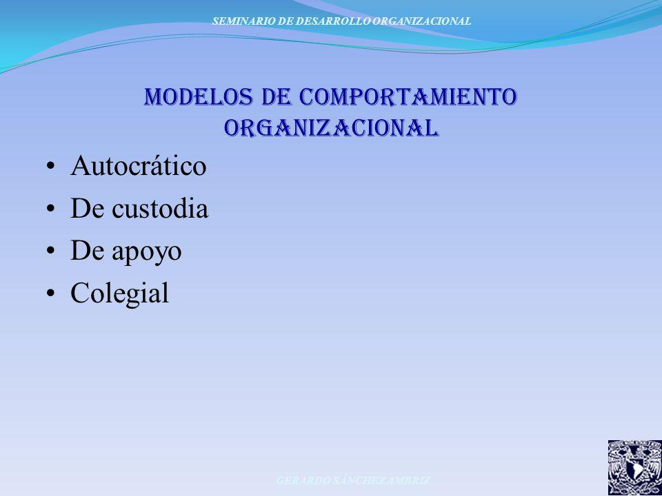 moDeLoS DE COMPORTAMIENTO ORGANIZACIONAL Autocrático De custodia De apoyo Colegial SEMINARIO DE DESARROLLO ORGANIZACIONAL GERARDO SÁNCHEZ AMBRIZ