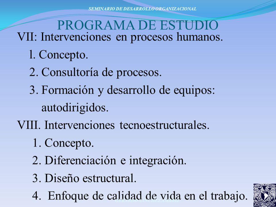 PROGRAMA DE ESTUDIO VII: Intervenciones en procesos humanos. l. Concepto. 2. Consultoría de procesos. 3. Formación y desarrollo de equipos: autodirigi