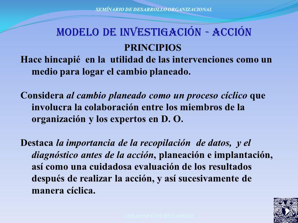 moDeLo DE invesTiGACIÓN - ACCIÓN PRINCIPIOS Hace hincapié en la utilidad de las intervenciones como un medio para logar el cambio planeado. Considera