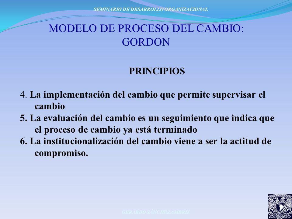 MODELO DE PROCESO DEL CAMBIO: GORDON PRINCIPIOS 4. La implementación del cambio que permite supervisar el cambio 5. La evaluación del cambio es un seg