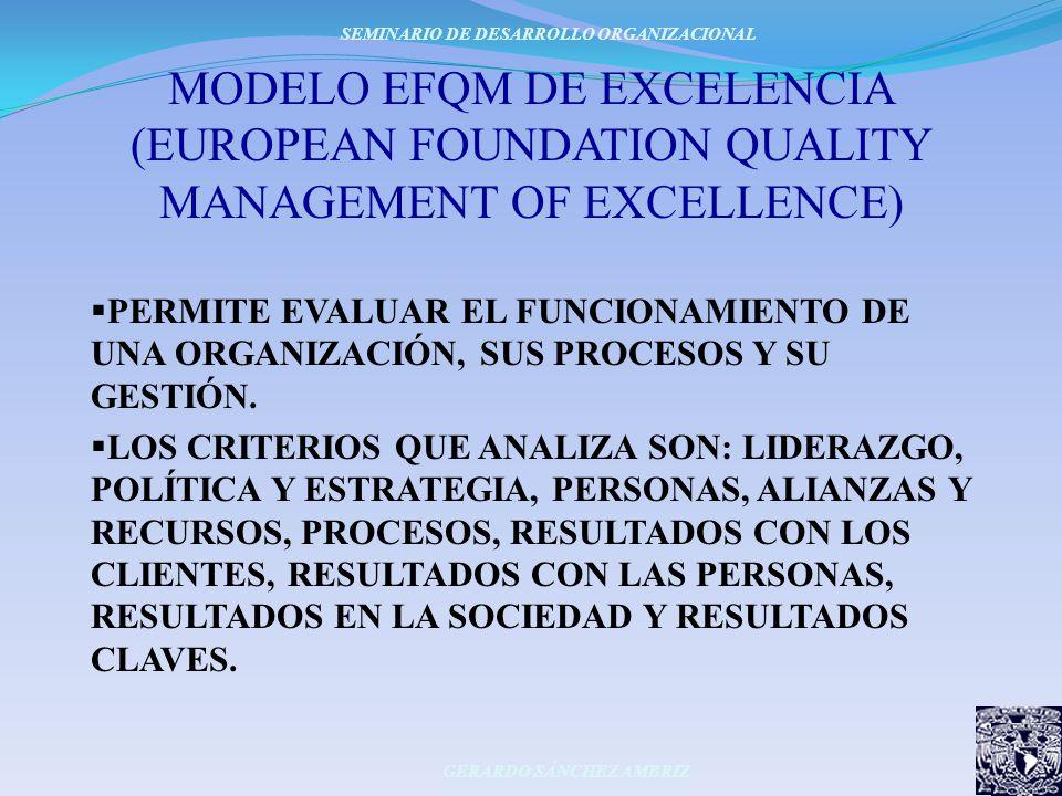 MODELO EFQM DE EXCELENCIA (EUROPEAN FOUNDATION QUALITY MANAGEMENT OF EXCELLENCE) SEMINARIO DE DESARROLLO ORGANIZACIONAL GERARDO SÁNCHEZ AMBRIZ PERMITE