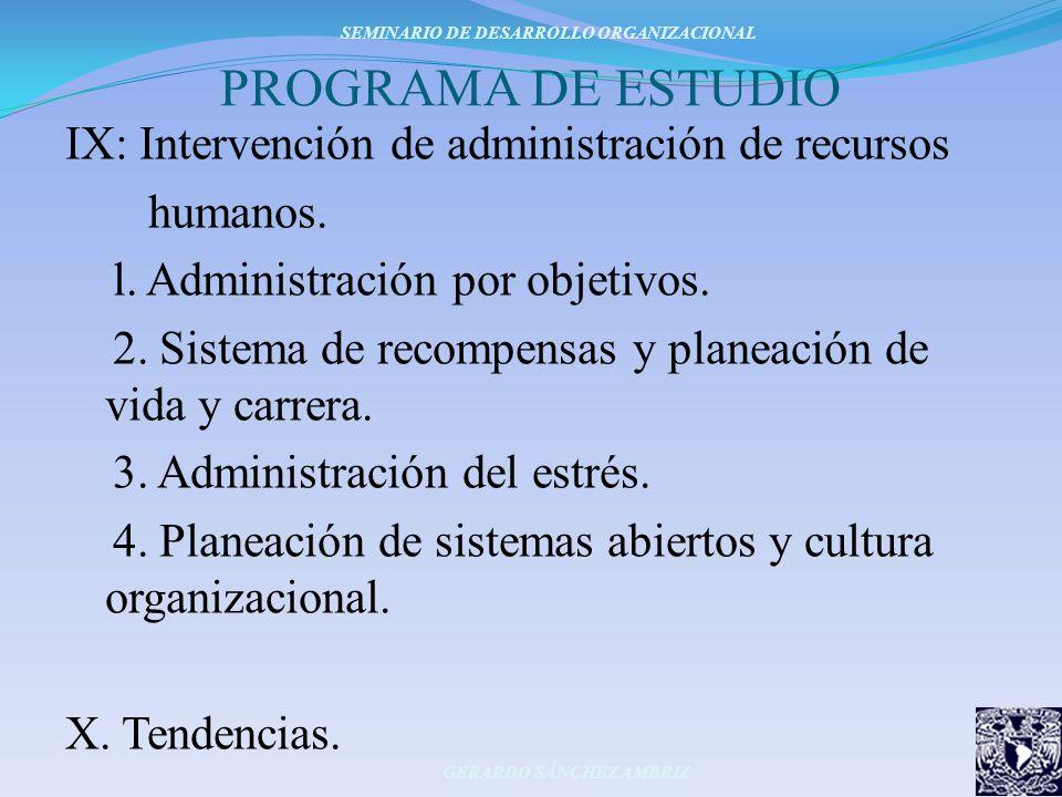 PROGRAMA DE ESTUDIO IX: Intervención de administración de recursos humanos. l. Administración por objetivos. 2. Sistema de recompensas y planeación de