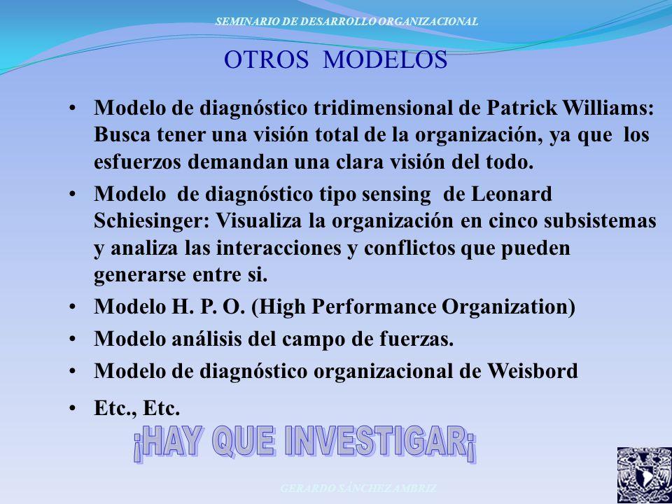 OTROS MODELOS Modelo de diagnóstico tridimensional de Patrick Williams: Busca tener una visión total de la organización, ya que los esfuerzos demandan