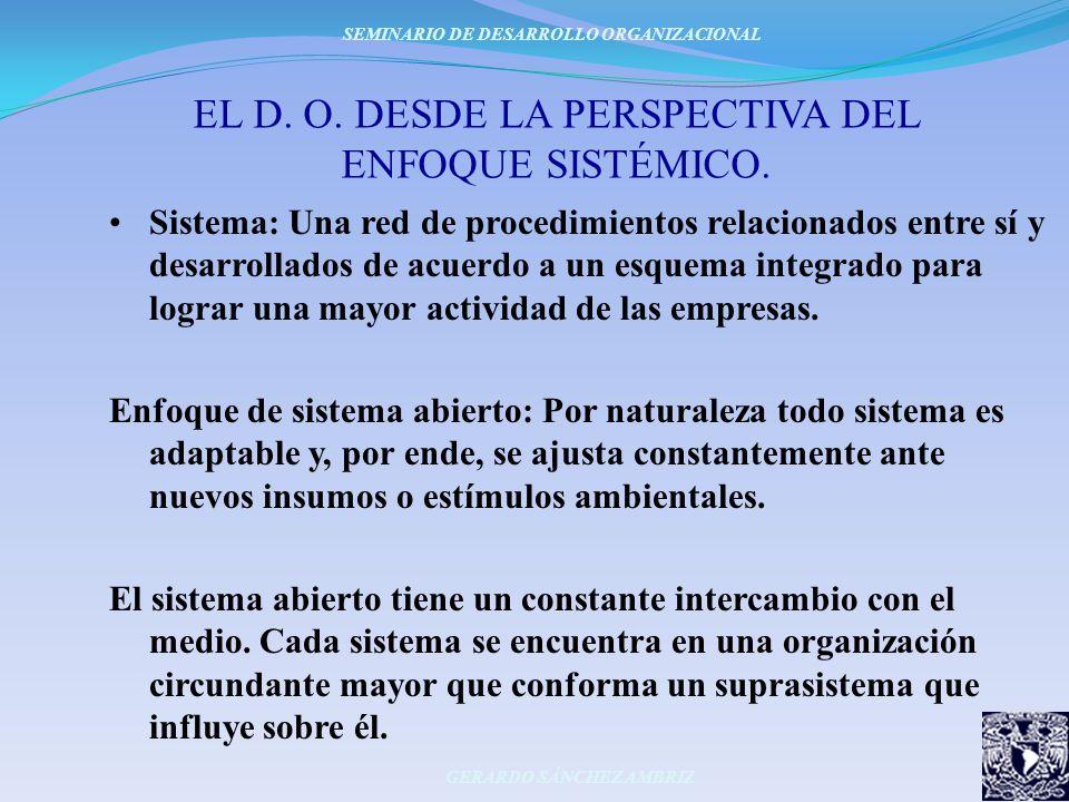 EL D. O. DESDE LA PERSPECTIVA DEL ENFOQUE SISTÉMICO. Sistema: Una red de procedimientos relacionados entre sí y desarrollados de acuerdo a un esquema