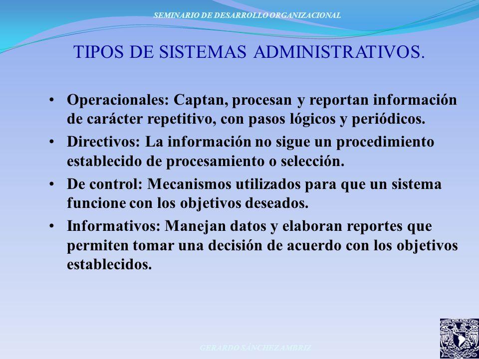 TIPOS DE SISTEMAS ADMINISTRATIVOS. Operacionales: Captan, procesan y reportan información de carácter repetitivo, con pasos lógicos y periódicos. Dire