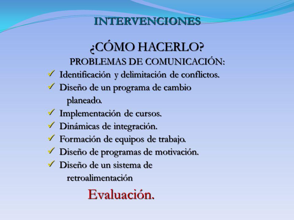 INTERVENCIONES ¿CÓMO HACERLO? PROBLEMAS DE COMUNICACIÓN: Identificación y delimitación de conflictos. Identificación y delimitación de conflictos. Dis