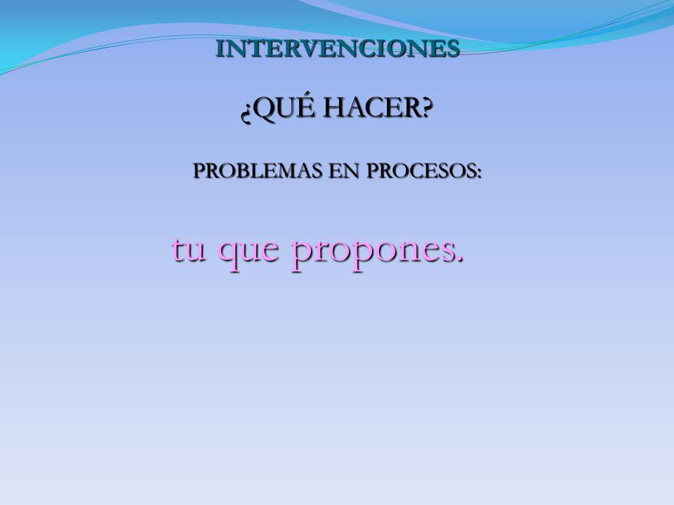INTERVENCIONES ¿QUÉ HACER? PROBLEMAS EN PROCESOS: tu que propones. tu que propones.