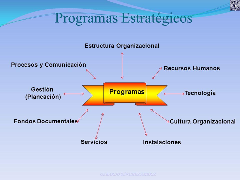 Programas Estructura Organizacional Recursos Humanos Tecnología Cultura Organizacional Instalaciones Procesos y Comunicación Gestión (Planeación) Fond