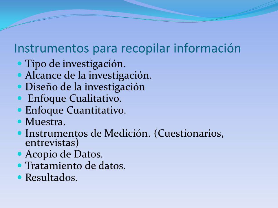 Instrumentos para recopilar información Tipo de investigación. Alcance de la investigación. Diseño de la investigación Enfoque Cualitativo. Enfoque Cu