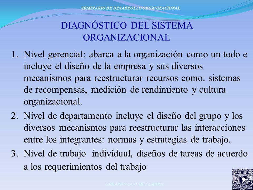 DIAGNÓSTICO DEL SISTEMA ORGANIZACIONAL 1.Nivel gerencial: abarca a la organización como un todo e incluye el diseño de la empresa y sus diversos mecan