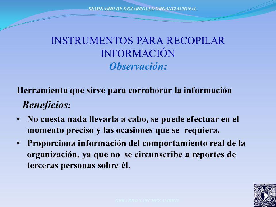 INSTRUMENTOS PARA RECOPILAR INFORMACIÓN Observación: Herramienta que sirve para corroborar la información Beneficios : No cuesta nada llevarla a cabo,