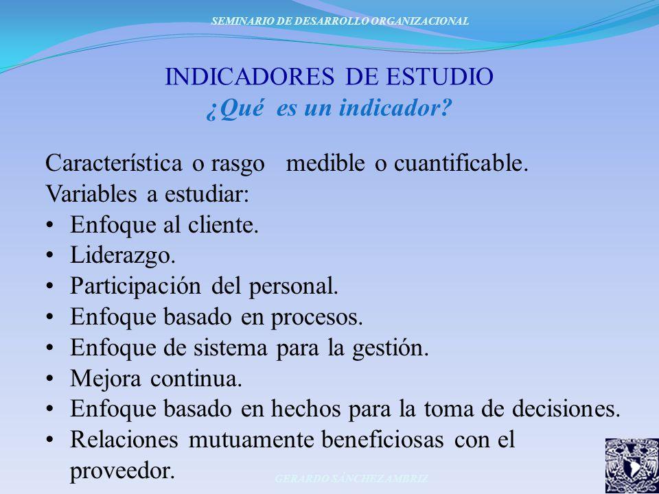 INDICADORES DE ESTUDIO ¿Qué es un indicador? Característica o rasgo medible o cuantificable. Variables a estudiar: Enfoque al cliente. Liderazgo. Part