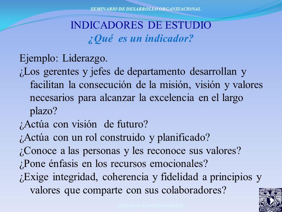 INDICADORES DE ESTUDIO ¿Qué es un indicador? Ejemplo: Liderazgo. ¿Los gerentes y jefes de departamento desarrollan y facilitan la consecución de la mi