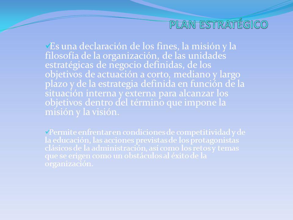 Es una declaración de los fines, la misión y la filosofía de la organización, de las unidades estratégicas de negocio definidas, de los objetivos de a
