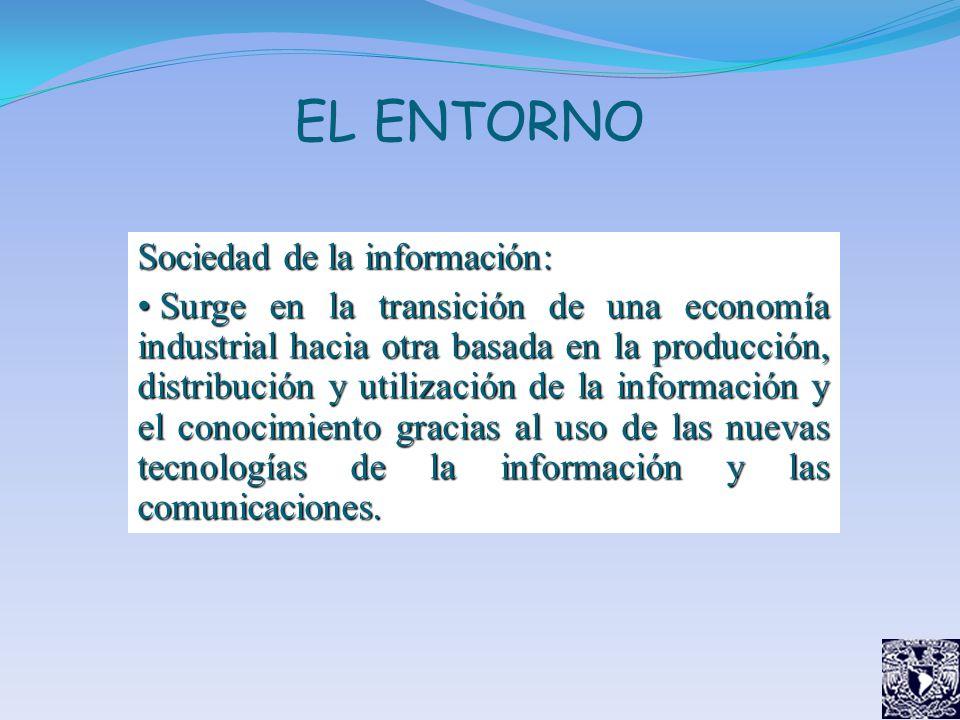 EL ENTORNO Sociedad de la información: Surge en la transición de una economía industrial hacia otra basada en la producción, distribución y utilizació