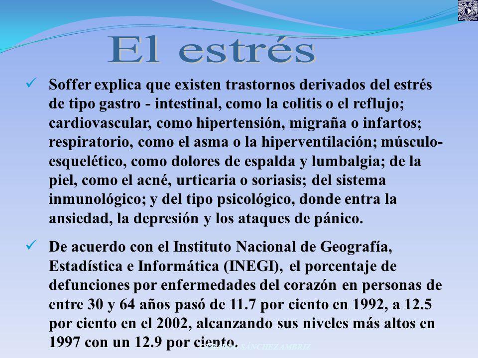 Soffer explica que existen trastornos derivados del estrés de tipo gastro - intestinal, como la colitis o el reflujo; cardiovascular, como hipertensió