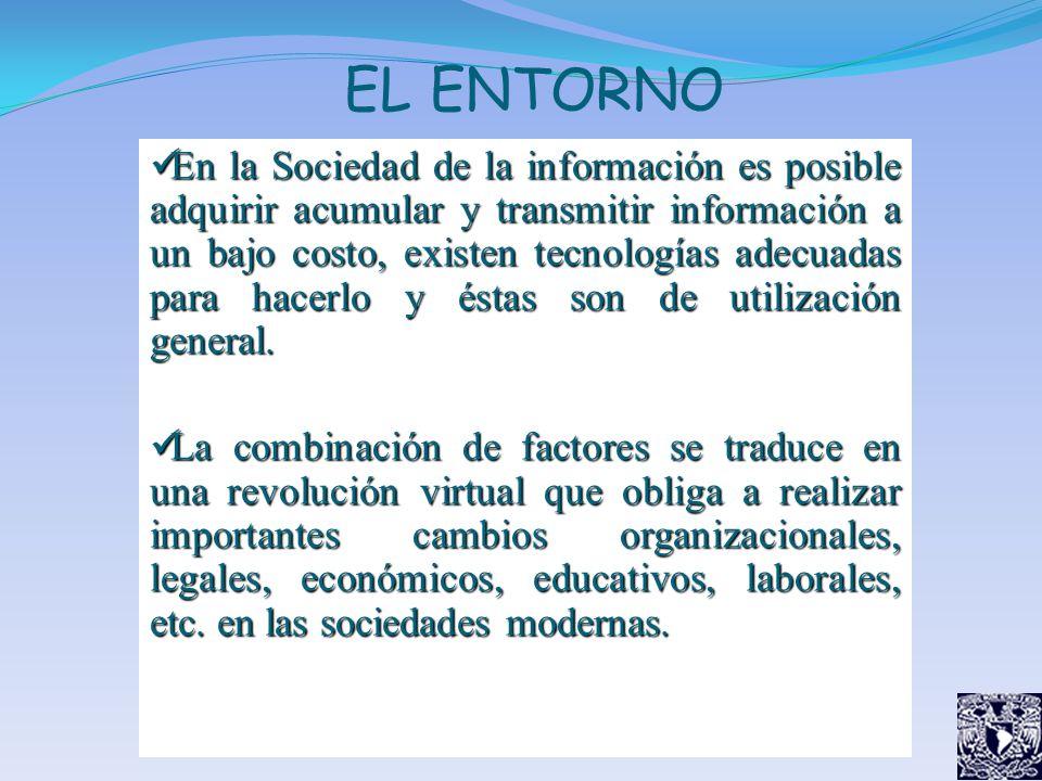 EL ENTORNO En la Sociedad de la información es posible adquirir acumular y transmitir información a un bajo costo, existen tecnologías adecuadas para