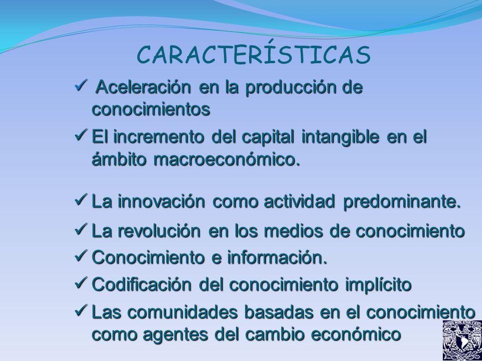 CARACTERÍSTICAS Aceleración en la producción de conocimientos Aceleración en la producción de conocimientos El incremento del capital intangible en el