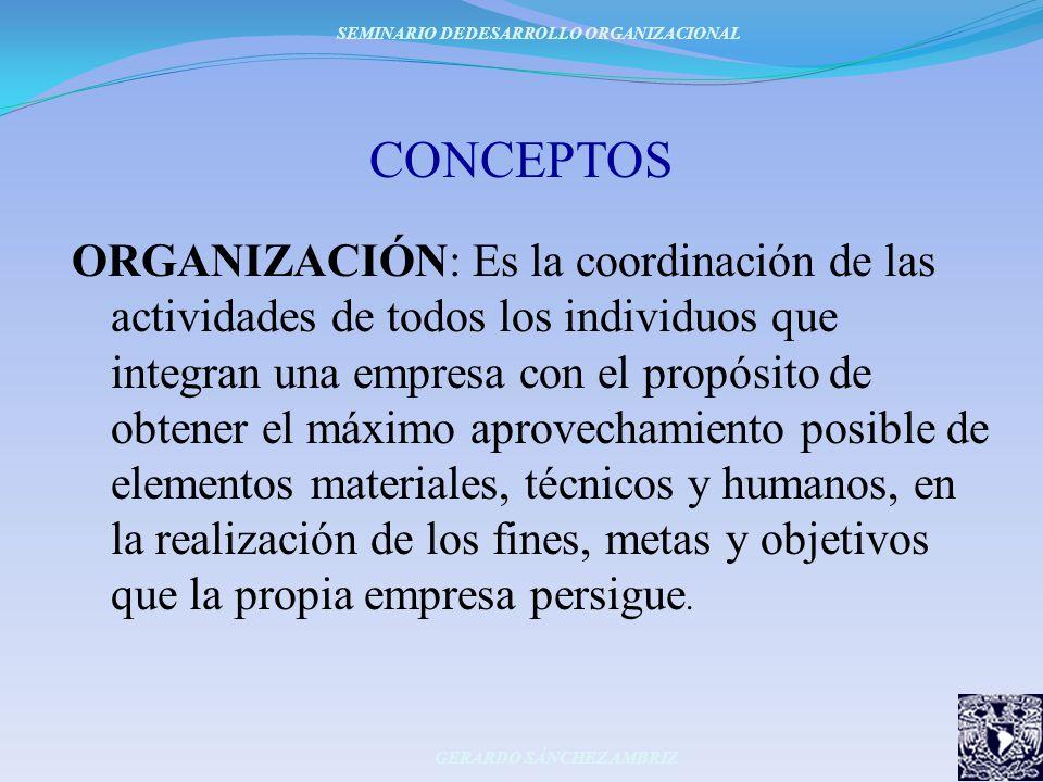 CONCEPTOS ORGANIZACIÓN: Es la coordinación de las actividades de todos los individuos que integran una empresa con el propósito de obtener el máximo a