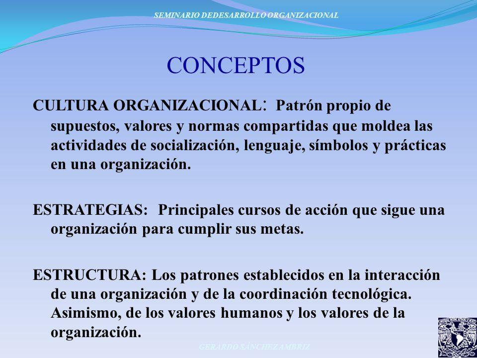 CONCEPTOS CULTURA ORGANIZACIONAL : Patrón propio de supuestos, valores y normas compartidas que moldea las actividades de socialización, lenguaje, sím