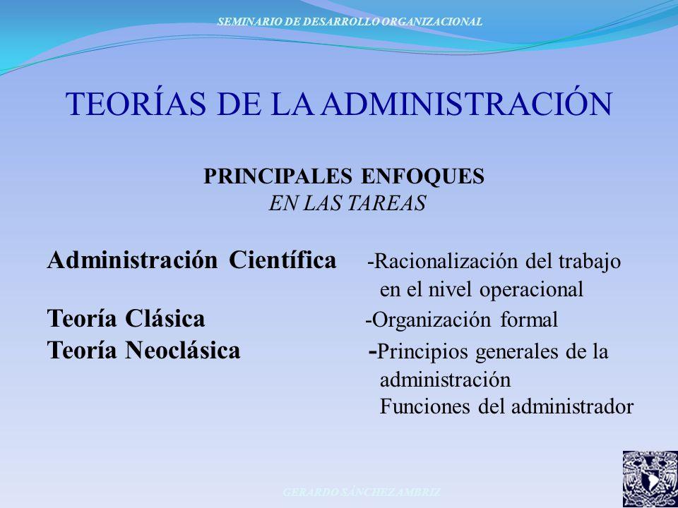 TEORÍAS DE LA ADMINISTRACIÓN PRINCIPALES ENFOQUES EN LAS TAREAS Administración Científica -Racionalización del trabajo en el nivel operacional Teoría
