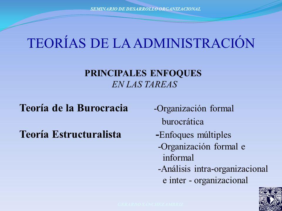 TEORÍAS DE LA ADMINISTRACIÓN PRINCIPALES ENFOQUES EN LAS TAREAS Teoría de la Burocracia -Organización formal burocrática Teoría Estructuralista - Enfo