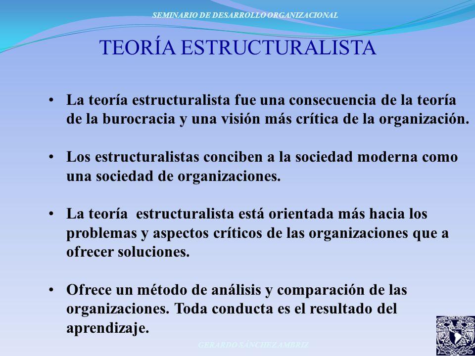 TEORÍA ESTRUCTURALISTA La teoría estructuralista fue una consecuencia de la teoría de la burocracia y una visión más crítica de la organización. Los e