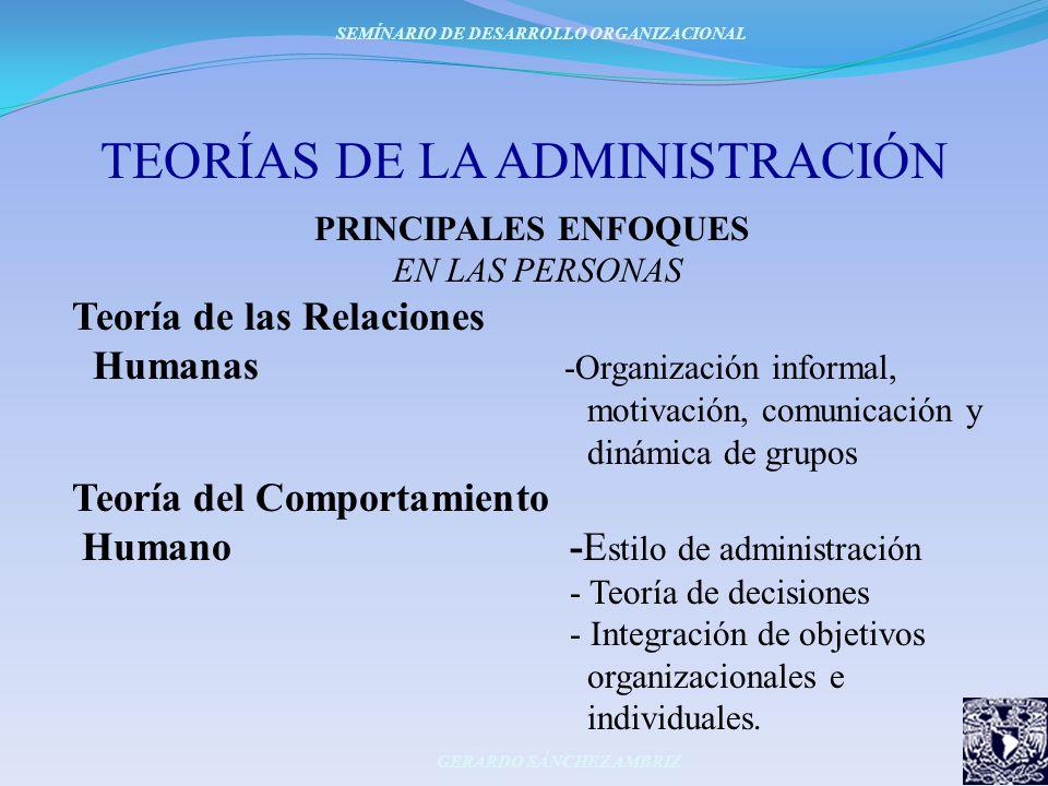 TEORÍAS DE LA ADMINISTRACIÓN PRINCIPALES ENFOQUES EN LAS PERSONAS Teoría de las Relaciones Humanas -Organización informal, motivación, comunicación y