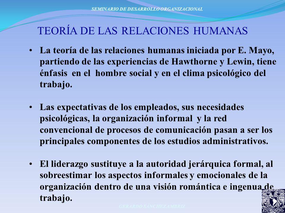 TEORÍA DE LAS RELACIONES HUMANAS La teoría de las relaciones humanas iniciada por E. Mayo, partiendo de las experiencias de Hawthorne y Lewin, tiene é