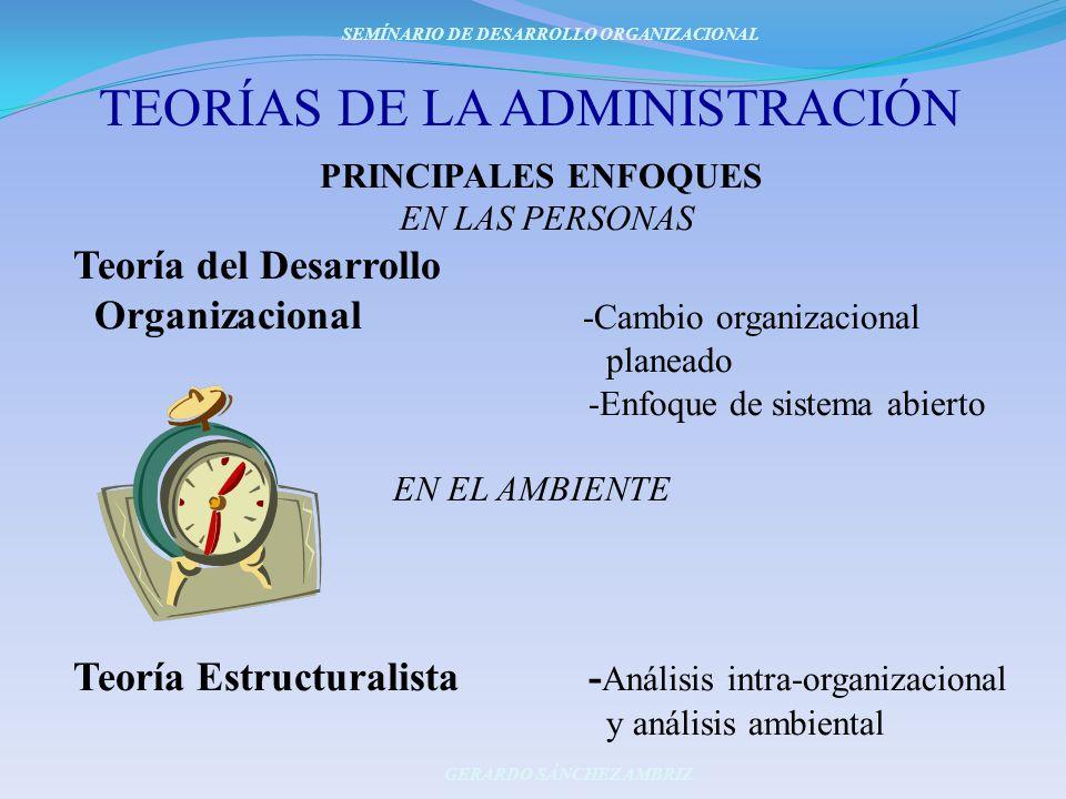TEORÍAS DE LA ADMINISTRACIÓN PRINCIPALES ENFOQUES EN LAS PERSONAS Teoría del Desarrollo Organizacional -Cambio organizacional planeado -Enfoque de sis
