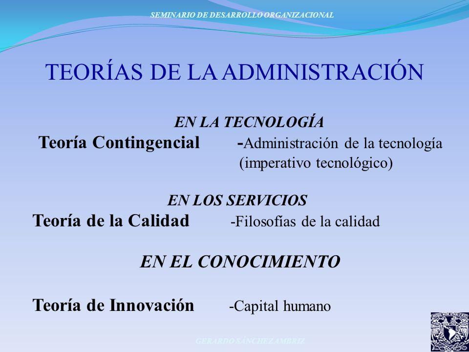 TEORÍAS DE LA ADMINISTRACIÓN EN LA TECNOLOGÍA Teoría Contingencial - Administración de la tecnología (imperativo tecnológico) EN LOS SERVICIOS Teoría