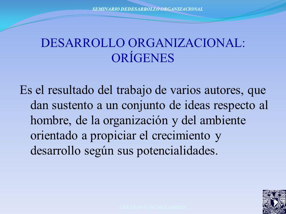 DESARROLLO ORGANIZACIONAL: ORÍGENES Es el resultado del trabajo de varios autores, que dan sustento a un conjunto de ideas respecto al hombre, de la o