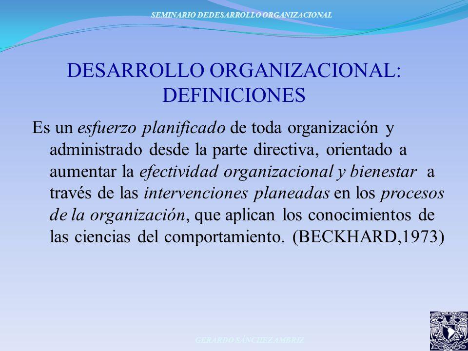 DESARROLLO ORGANIZACIONAL: DEFINICIONES Es un esfuerzo planificado de toda organización y administrado desde la parte directiva, orientado a aumentar
