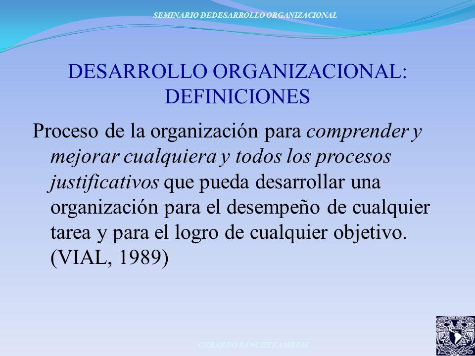 DESARROLLO ORGANIZACIONAL: DEFINICIONES Proceso de la organización para comprender y mejorar cualquiera y todos los procesos justificativos que pueda