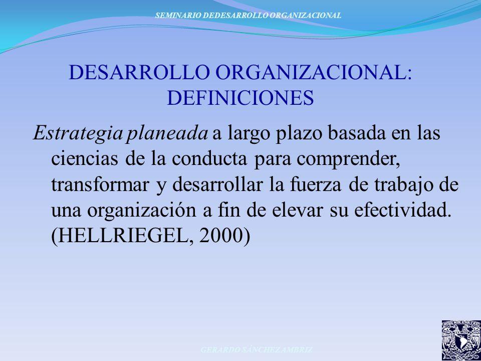 DESARROLLO ORGANIZACIONAL: DEFINICIONES Estrategia planeada a largo plazo basada en las ciencias de la conducta para comprender, transformar y desarro