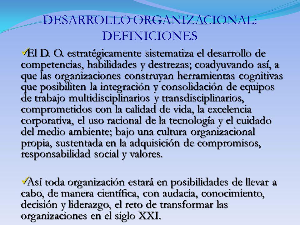 DESARROLLO ORGANIZACIONAL: DEFINICIONES El D. O. estratégicamente sistematiza el desarrollo de competencias, habilidades y destrezas; coadyuvando así,