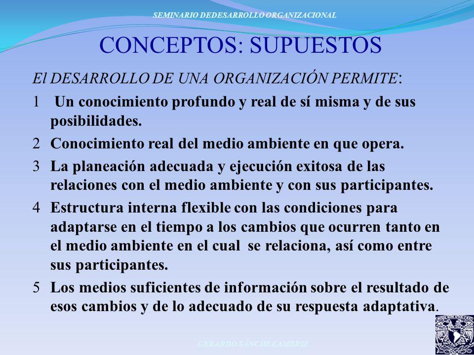 CONCEPTOS: SUPUESTOS El DESARROLLO DE UNA ORGANIZACIÓN PERMITE : 1 Un conocimiento profundo y real de sí misma y de sus posibilidades. 2Conocimiento r