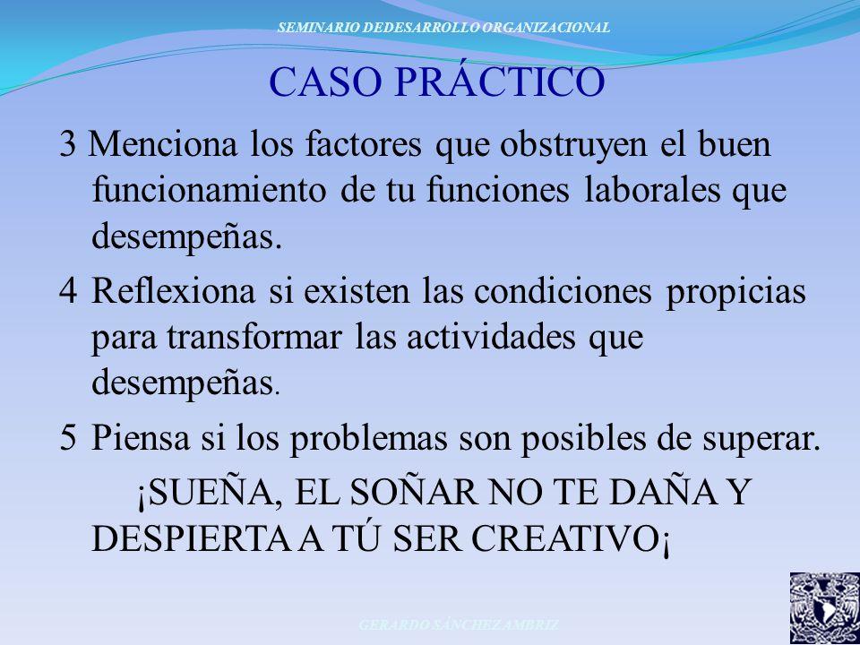 CASO PRÁCTICO 3 Menciona los factores que obstruyen el buen funcionamiento de tu funciones laborales que desempeñas. 4Reflexiona si existen las condic