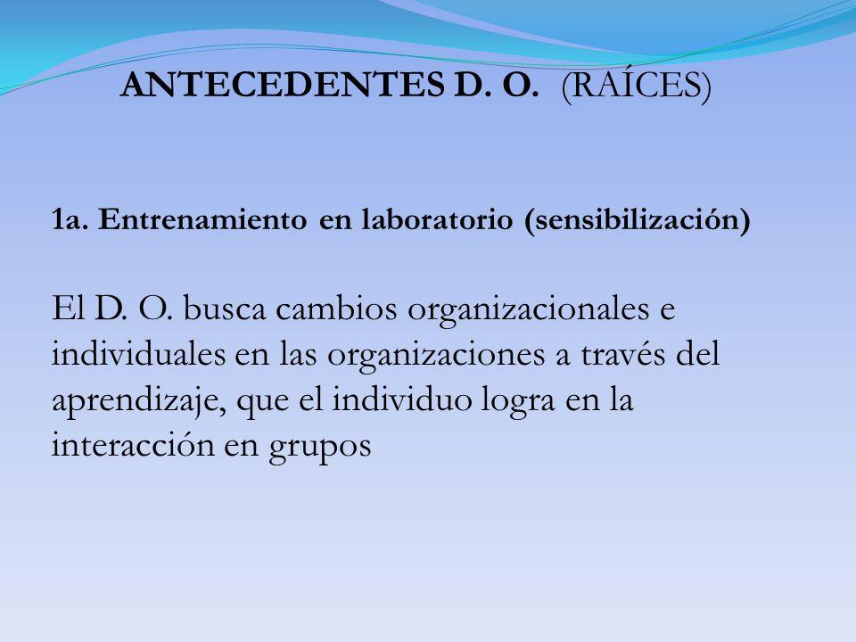 ANTECEDENTES D. O. (RAÍCES) 1a. Entrenamiento en laboratorio (sensibilización) El D. O. busca cambios organizacionales e individuales en las organizac