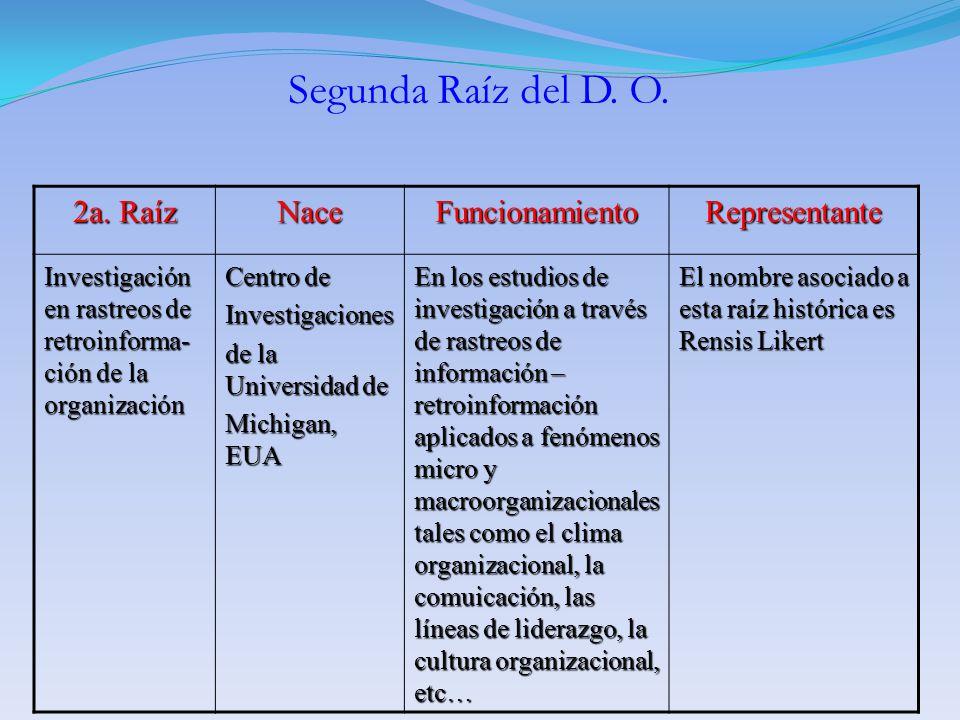 2a. Raíz NaceFuncionamientoRepresentante Investigación en rastreos de retroinforma- ción de la organización Centro de Investigaciones de la Universida