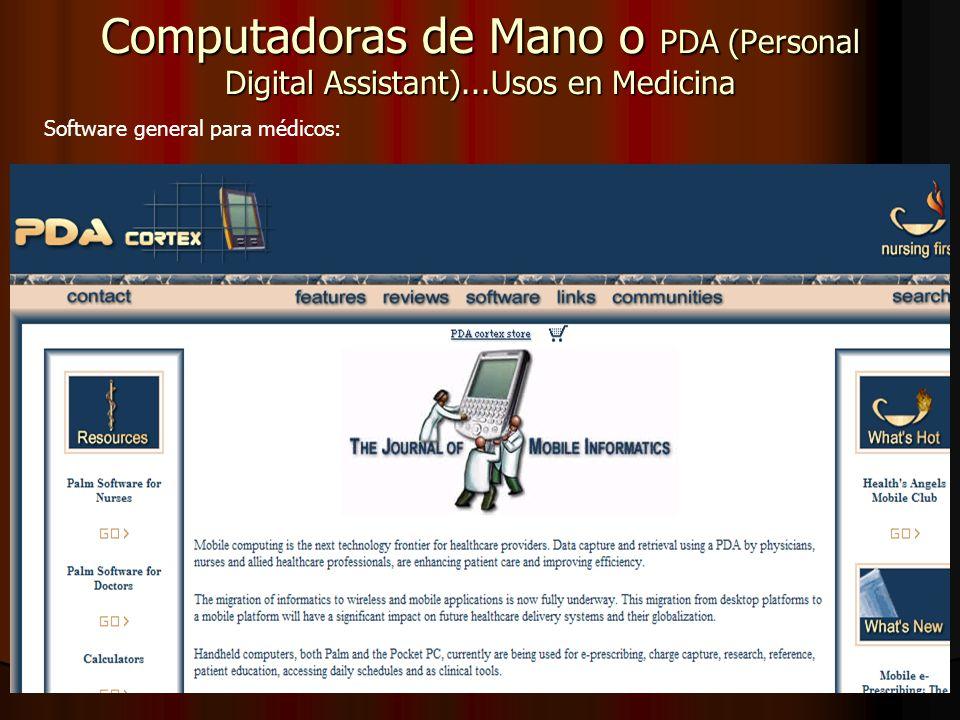 Computadoras de Mano o PDA (Personal Digital Assistant)...Usos en Medicina Software general para médicos: