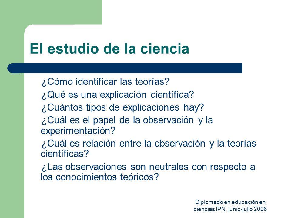 Diplomado en educación en ciencias IPN. junio-julio 2006 El estudio de la ciencia ¿Cómo identificar las teorías? ¿Qué es una explicación científica? ¿