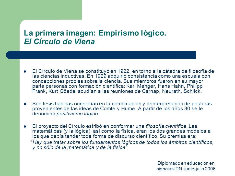 Diplomado en educación en ciencias IPN. junio-julio 2006 La primera imagen: Empirismo lógico. El Círculo de Viena El Círculo de Viena se constituyó en