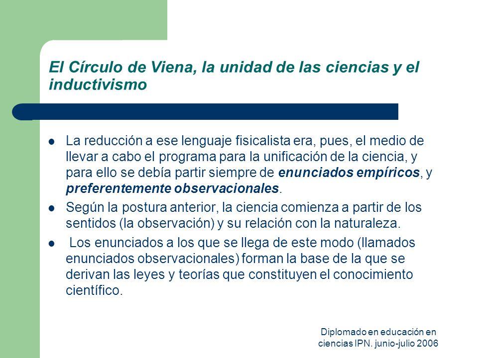 Diplomado en educación en ciencias IPN. junio-julio 2006 El Círculo de Viena, la unidad de las ciencias y el inductivismo La reducción a ese lenguaje