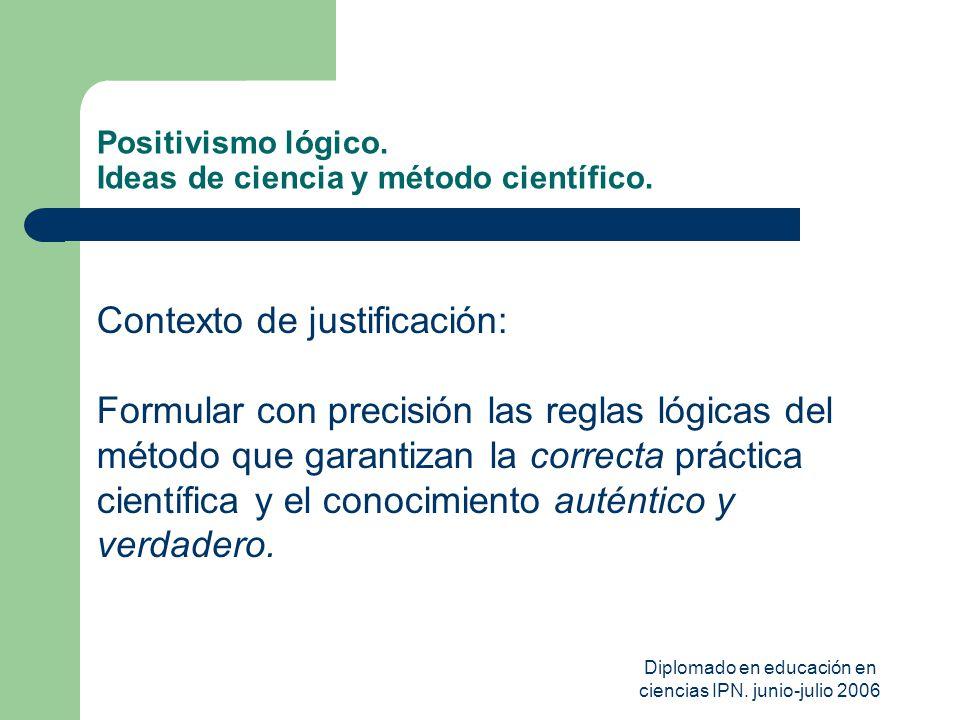 Diplomado en educación en ciencias IPN. junio-julio 2006 Positivismo lógico. Ideas de ciencia y método científico. Contexto de justificación: Formular