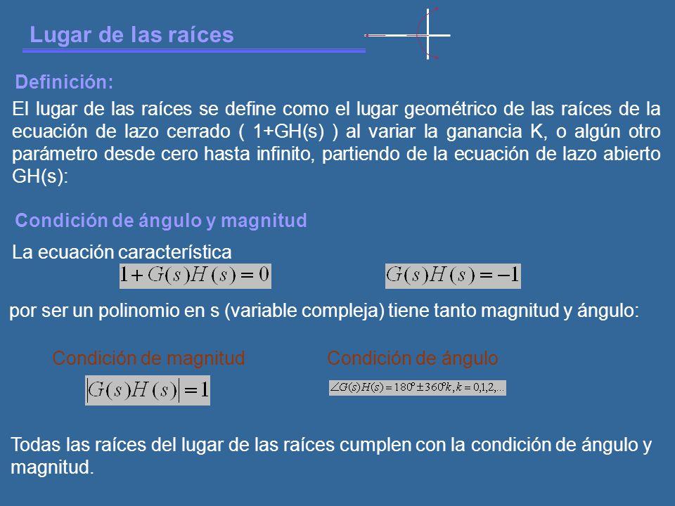 Lugar de las raíces El lugar de las raíces se define como el lugar geométrico de las raíces de la ecuación de lazo cerrado ( 1+GH(s) ) al variar la ganancia K, o algún otro parámetro desde cero hasta infinito, partiendo de la ecuación de lazo abierto GH(s): Definición: Condición de ángulo y magnitud La ecuación característica por ser un polinomio en s (variable compleja) tiene tanto magnitud y ángulo: Condición de magnitudCondición de ángulo Todas las raíces del lugar de las raíces cumplen con la condición de ángulo y magnitud.