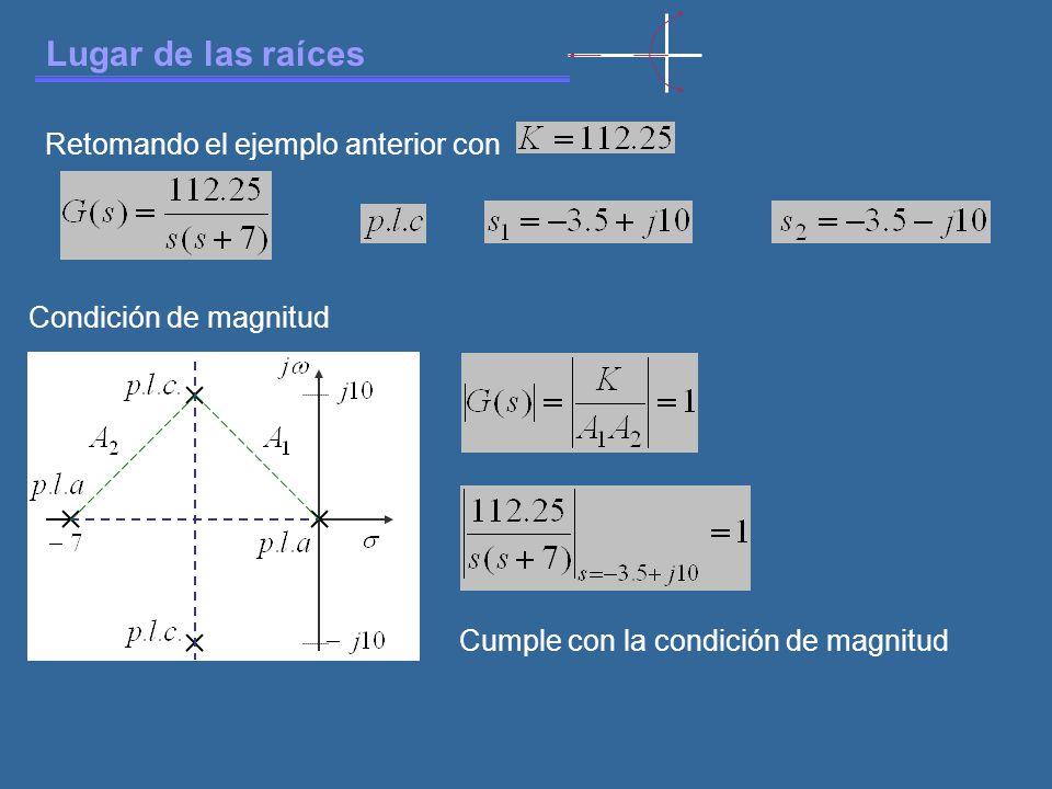 Lugar de las raíces Retomando el ejemplo anterior con Condición de magnitud Cumple con la condición de magnitud